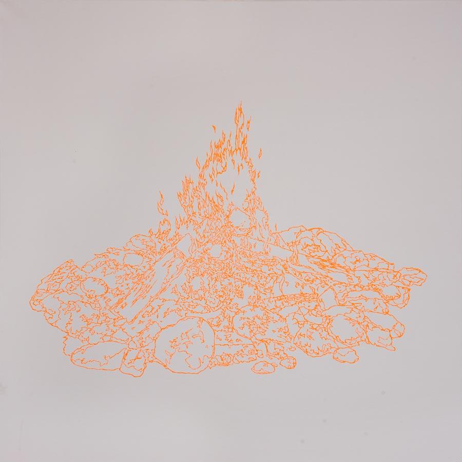 Lagerfeuer, 2010 / 100 x 100 cm / Acryl auf Molino