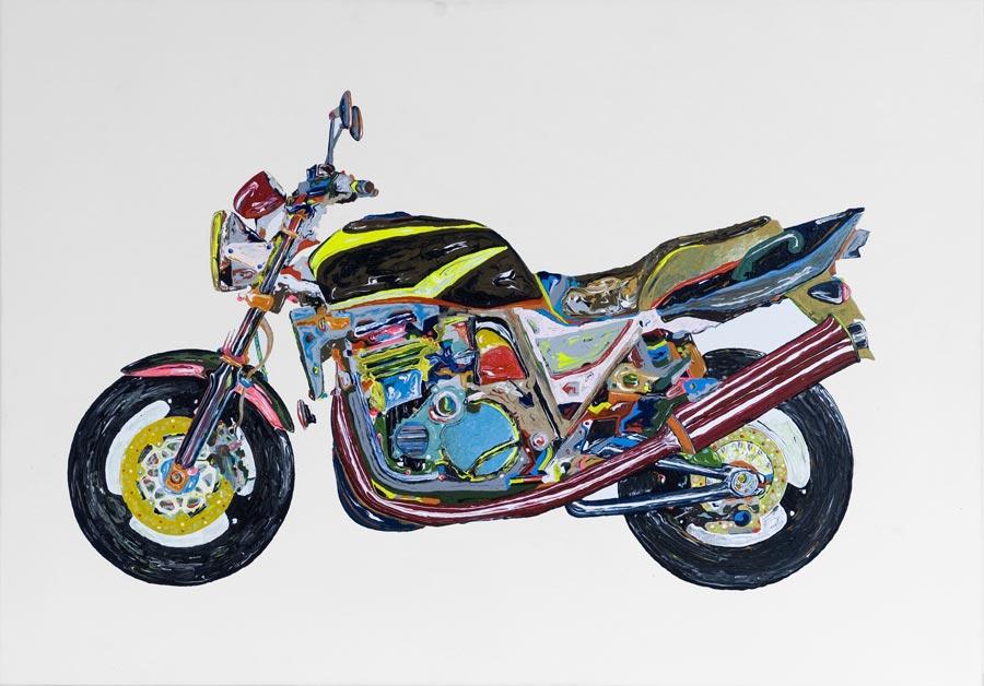 Motorrad, 2007 / 70 x 100 cm / Acryl auf Molino