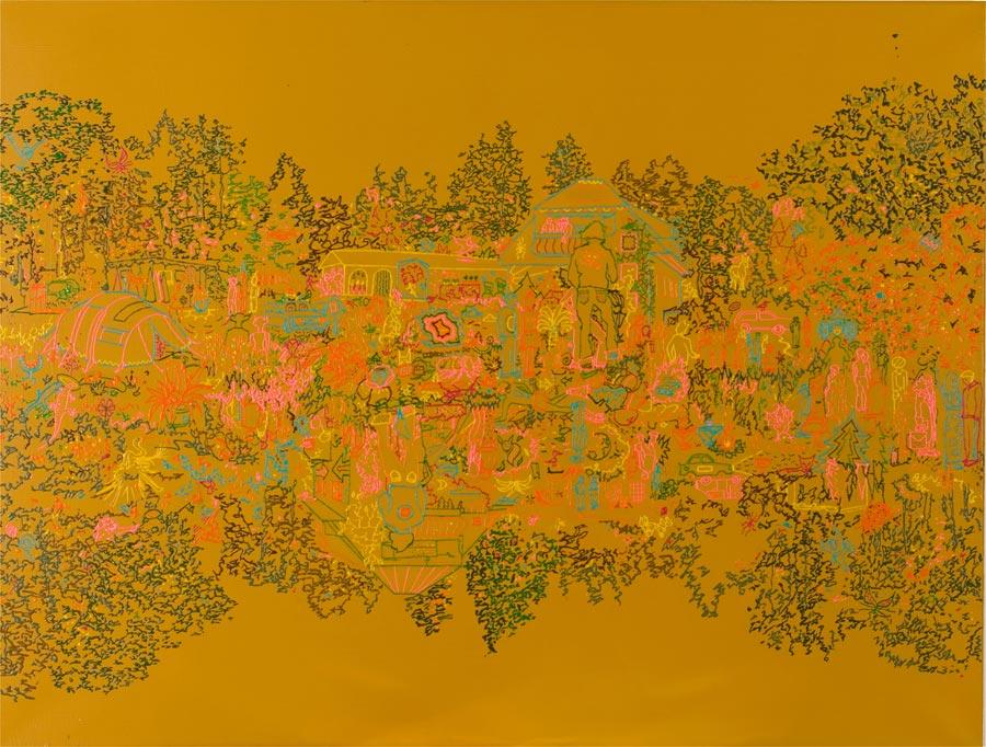 Die Waldhochzeit, 2004 / 82 x 109 cm / Acryl auf Leinwand